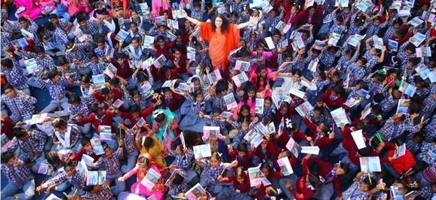 Sadhvi in a crowd
